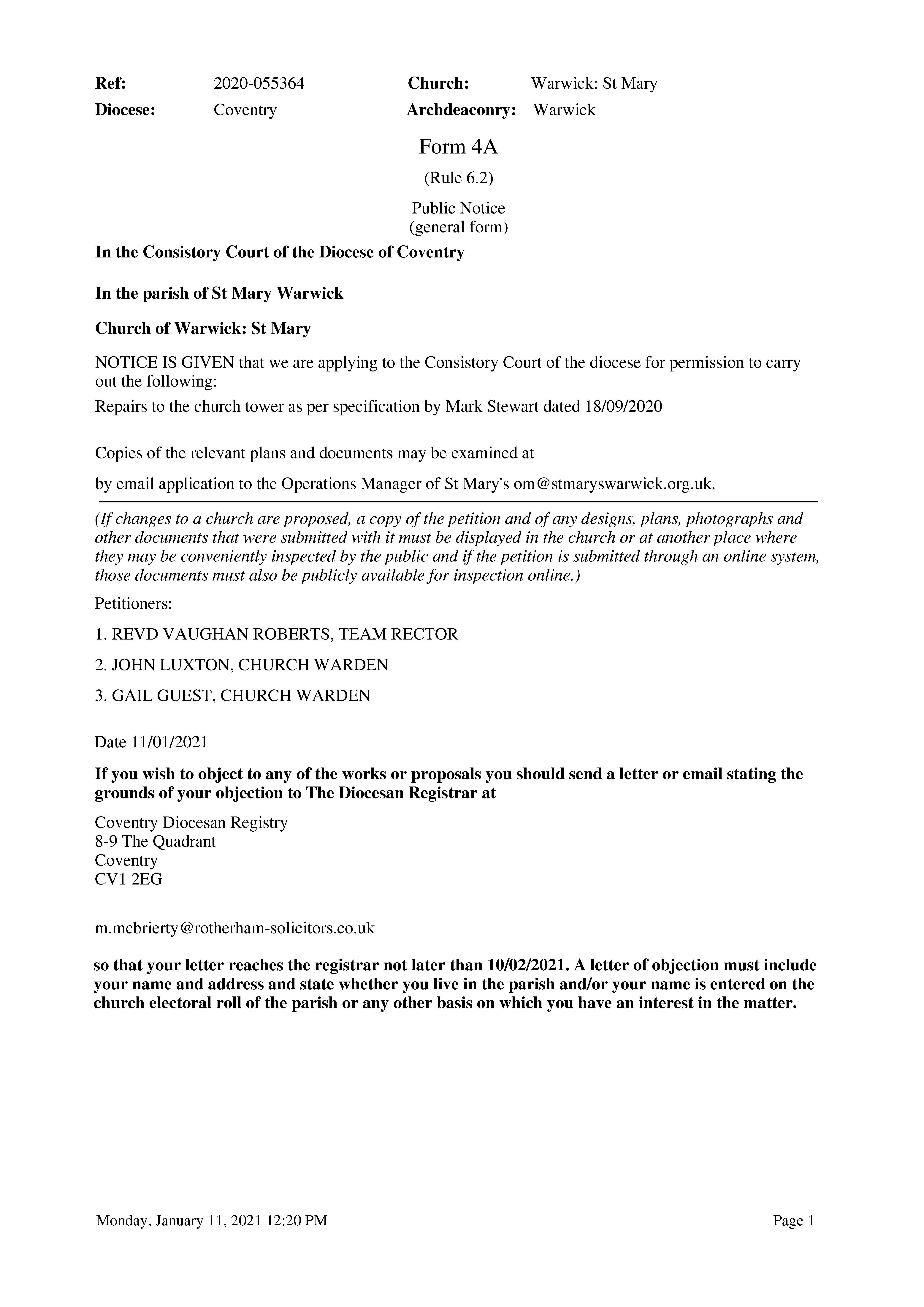 Tower faculty public notice